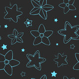 Vector seamless stars pattern. Blue stars on dark background. Good for scrapbooking, textile, etc Stock Photo