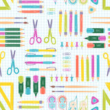 Vector seamless stationery pattern. School and office background. Royalty Free Stock Photo