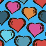 Vector seamless stylish pattern with hand drawn hearts. Valentine`s Day.modern design. For wrappers, fabrics, textiles. Vector seamless stylish pattern with hand royalty free illustration