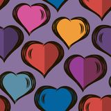 Vector seamless stylish pattern with hand drawn hearts. Valentine`s Day.modern design. For wrappers, fabrics, textiles. Vector seamless stylish pattern with hand stock illustration