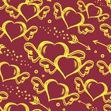 Vector seamless pattern with hand drawn hearts with wings and flying arrows. St.Valentine s day background Stock Images