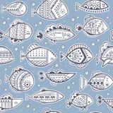 Vector seamless stylized fish pattern Royalty Free Stock Image