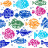 Vector seamless stylized fish pattern Royalty Free Stock Images