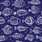 Vector seamless stylized fish pattern Stock Images