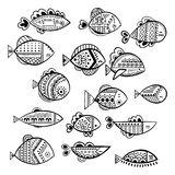 Vector seamless stylized fish set Royalty Free Stock Image