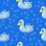 Vector seamless summer background. Pattern with floating swan in water. Illustration for swimming and recreation royalty free illustration
