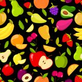 Vector seamless summer fruits pattern on a black background Royalty Free Stock Image