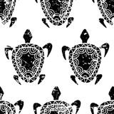 Vector seamless summer grunge pattern. Hand drawn black turtle i Stock Image