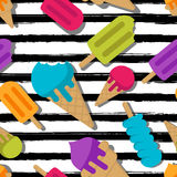 Vector seamless summer pattern. Multicolor ice cream on black watercolor striped background. Royalty Free Stock Images