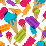 Vector seamless summer pattern with multicolor ice cream. Cones ice cream and ice lolly on white background. Royalty Free Stock Photos