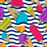 Vector seamless summer pattern with multicolor ice cream on wavy stripes. Cones ice cream and ice lolly background. Design for trendy print, wrapping paper Stock Image