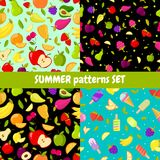 Vector seamless summer patterns set. colorful cartoon backgrounds. With fruits and ice cream illustration Royalty Free Stock Images