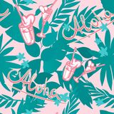 Vector seamless summer tropical background with exotic palm leaves, plants, cocktails, hearts and inscription - Aloha. Vector seamless summer tropical background royalty free illustration