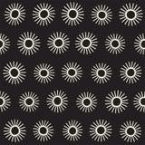 Vector seamless sunburst shapes freehand pattern.  Royalty Free Stock Photo