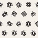 Vector seamless sunburst shapes freehand pattern.   Stock Image