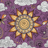 Vector seamless sunny floral pattern Royalty Free Stock Photo