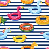 Vector Seamless Swimming Pool Float Rings Pattern. Inflatable Kids Toys Background. Design For Summer Textile Print. Royalty Free Stock Images