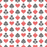 Vector seamless symmetrical pattern with black and red lined playing card symbols on the white background. Series of Gaming and Gambling Seamless Patterns Stock Images