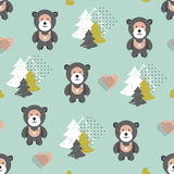 Vector seamless teddy bear pattern Royalty Free Stock Image