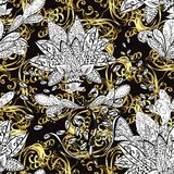 Vector seamless texture. Abstract beautiful background, royal, damask ornament, vintage, rich seamless pattern, luxury, artistic vector wallpaper, floral, oldest Stock Image