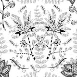 Vector seamless texture. Vector seamless abstract floral pattern, monochrome. Black and white vector seamless pattern, vintage doodles ornament Royalty Free Stock Image