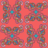 Vector seamless texture with abstract flowers. Compound ethnic seamless pattern Stock Images