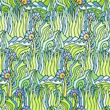 Vector seamless pattern with psychedelic doodle ornament Vector Illustration