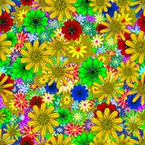 Vector seamless texture. With abstract flowers. Spring background with multicolored flowers Stock Image