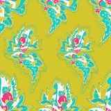 Vector seamless texture with abstract leaves. Endless yellow background. Vector backdrop. Bright pattern. Royalty Free Stock Photo