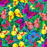 Vector seamless texture. Vector seamless abstract pattern with colorful butterfly. Endless background Stock Images