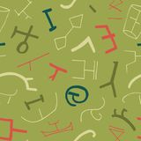 Vector seamless texture with ancient elements on green background. Stock Photography