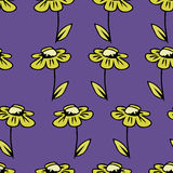 Vector seamless texture background with camomile Stock Images