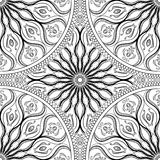 Vector seamless texture. Beautiful black and white mandala pattern for design and fashion with decorative elements. Stock Image