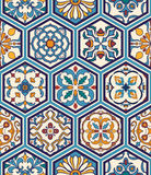Vector seamless texture. Beautiful mega patchwork pattern for design and fashion with decorative elements in hexagon. Portuguese tiles, Azulejo, Moroccan Royalty Free Stock Photos