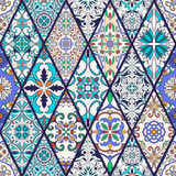 Vector seamless texture. Beautiful mega patchwork pattern for design and fashion with decorative elements. Portuguese tiles, Azulejo, Talavera, Moroccan Stock Image