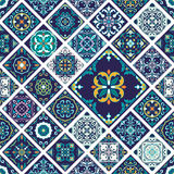 Vector seamless texture. Beautiful mega patchwork pattern for design and fashion with decorative elements in rhombus Stock Photos