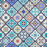 Vector seamless texture. Beautiful mega patchwork pattern for design and fashion with decorative elements. Set of Portuguese tiles, Azulejo, Talavera, Moroccan Royalty Free Stock Images