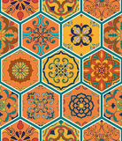 Vector seamless texture. Beautiful patchwork pattern for design and fashion with decorative elements in hexagon. Portuguese tiles, Azulejo, Talavera, Moroccan Stock Photos