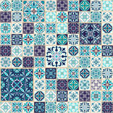 Vector seamless texture. Beautiful patchwork pattern for design and fashion with decorative elements. Portuguese tiles, Azulejo, Talavera, Moroccan ornaments stock illustration