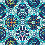 Vector seamless texture. Beautiful patchwork pattern for design and fashion with decorative elements. Portuguese tiles, Azulejo, Moroccan ornaments Stock Images
