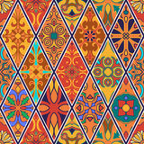 Vector seamless texture. Beautiful patchwork pattern for design and fashion with decorative elements in rhombus. Portuguese tiles, Azulejo, Talavera, Moroccan Stock Images
