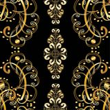 Vector seamless texture. Black background with luxurious copper ornament. Raster version of vector Stock Photography