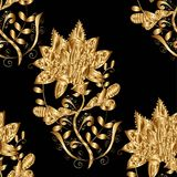Vector seamless texture. Seamless texture on black background. Seamless pattern. Vector illustration. Vintage style. Floral golden elements. Golden flowers Royalty Free Stock Image