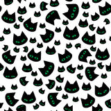 Vector seamless texture with black cats. Vector seamless texture. Endless background pattern with black cats. Vector background for use in design. Use for Royalty Free Stock Photo