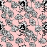 Vector seamless texture. Seamless black and white floral pattern on a pink background. Hand drawing doodle. Vector illustration Royalty Free Stock Photos