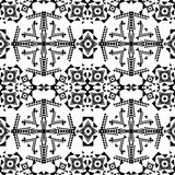 Vector seamless texture. Black and white tribal geometric pattern. Aztec ornamental style Royalty Free Stock Photo