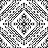 Vector seamless texture. Black and white tribal geometric pattern Stock Photos