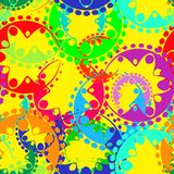 Vector seamless texture of bright colored gears and laurel wreat. Hs in kaleidoscope rainbow style. To decorate fabrics for kids and moms or festive paper stock illustration