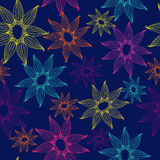 Vector seamless texture with bright and lacy flowers. Endless dark background. Vector backdrop. Bright pattern. Royalty Free Stock Images