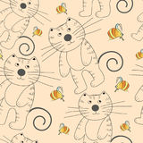 Vector seamless texture with cat. And orange bee on beige background Royalty Free Stock Image